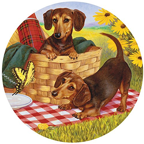 Bits and Pieces - 500 Piece Round Jigsaw Puzzle for Adults - Picnic Supper - 500 pc Dachshund Dogs at a Picnic Round Jigsaw by Artist Christopher (500 Piece Round Puzzle)