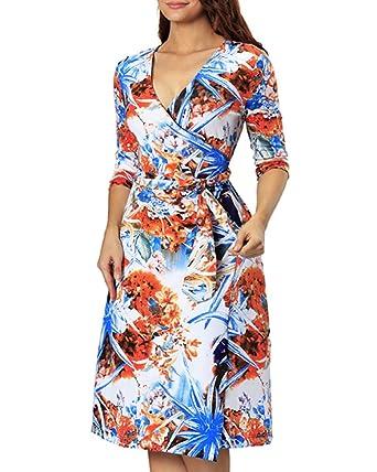 13c34b32b79 Aofur Sexy Womens Ladies V Neck A Line Knee Length Dress Floral Print Party  Dresses  Amazon.co.uk  Clothing