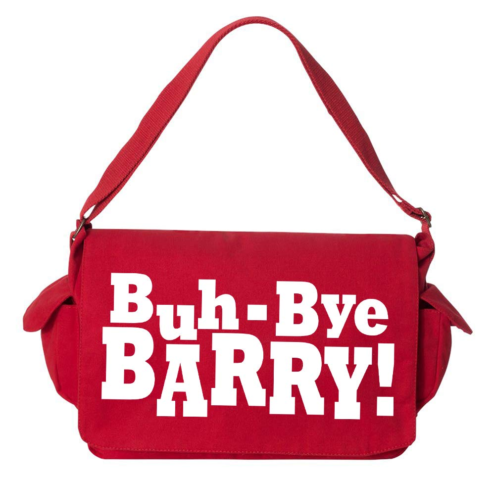 Tenacitee Buh-Bye Barry Khaki Green Raw Edge Canvas Messenger Bag