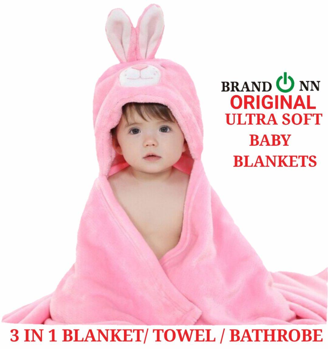BRANDONN Ultra Soft Organic Bathrobe Gown for Babies Cum Baby Bath Towel (Pink Rabbit)