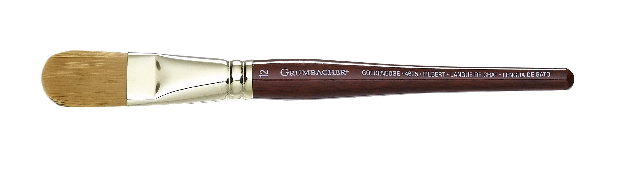 Grumbacher Goldenedge Golden Toray Filbert Watercolor Brush, Synthetic Bristles, Size 12 (4625.12)