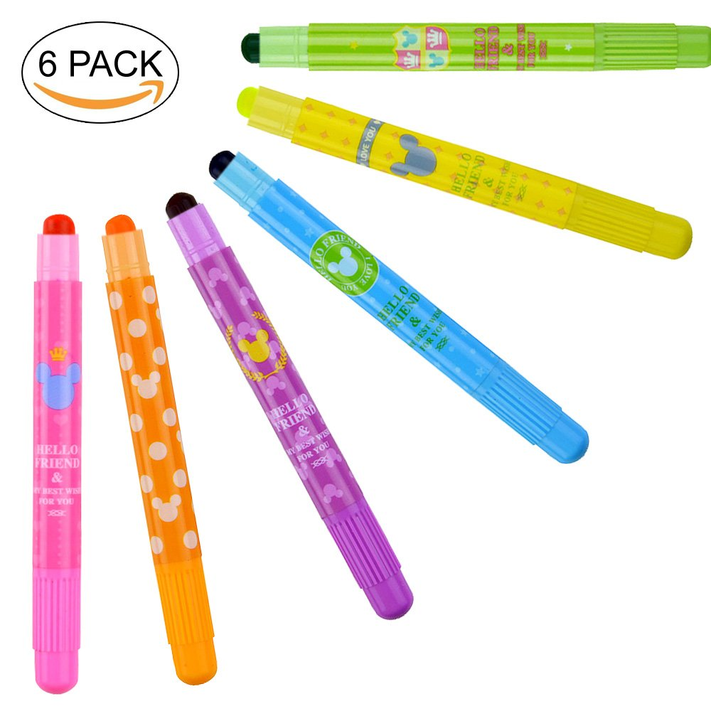 Gel Highlighters Solid Highlighter Stick Cute Cool Novelty Solid Accent Pen Office School Supplies Student Children (6 Assorted Color)