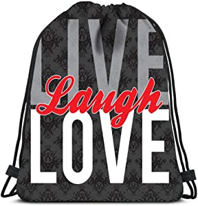Drawstring Backpack Typographic Montage Of The Words Live Laugh Love In Format Laundry Bag Gym Yoga Bag