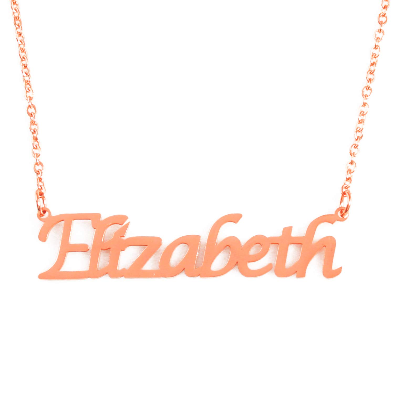 Zacria Elizabeth Custom Name Necklace Personalized 18ct Rose Gold Plated