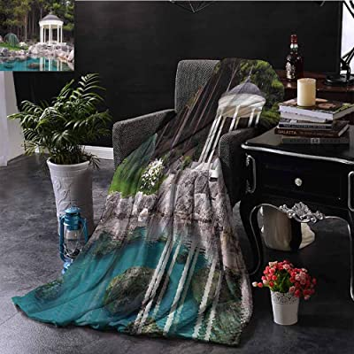 Landscape Luxury Special Grade Blanket Gazebo by The Pond in a Beautiful Green Park Nature Forest Garden View Multi-Purpose use for Sofas etc. W70 x L70 Inch Green Blue and White: Home & Kitchen