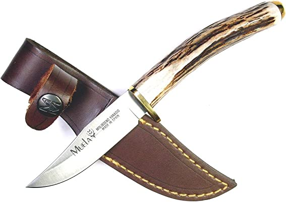 Muela SH-8KNIFE Stag Handle Field Knife with Leather Sheath
