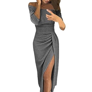 f6101d82276111 friendGG ❤ ❤ Damen Off Shoulder Kleider für Hochzeit Sexy Elegant  Maxikleider Glänzend Hoch
