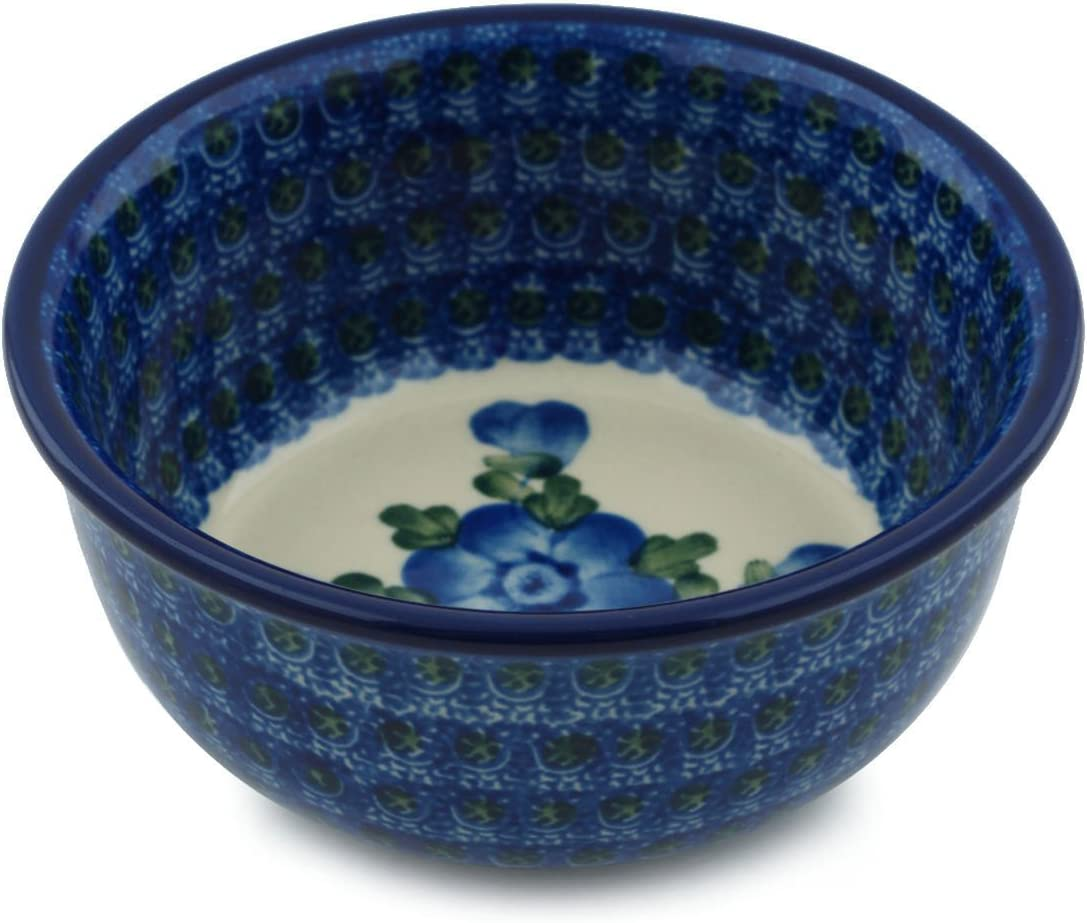 Polish Pottery Ice Cream Bowl 5-inch Blue Poppies