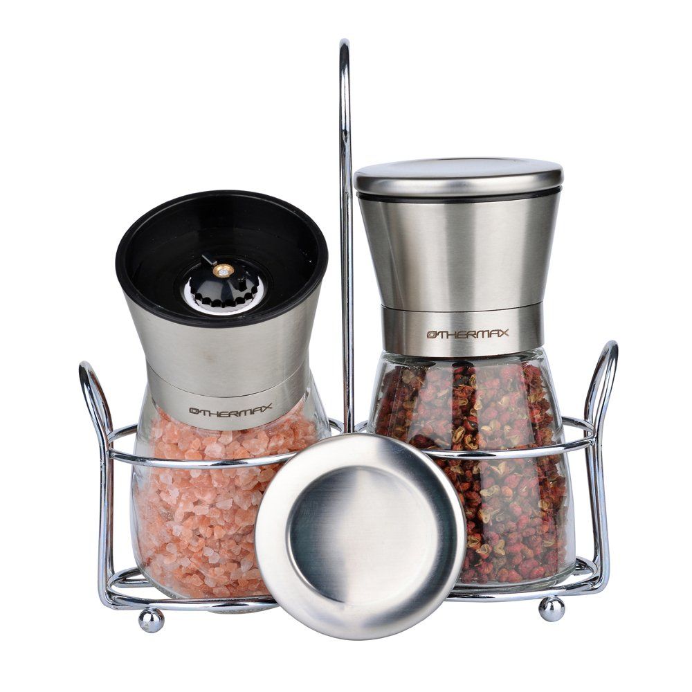 OTHERMAX Manual Salt and Pepper Grinder Set with Stand, Premium Brushed Stainless Steel Salt and Pepper Mill Set with Adjustable Coarseness,Ceramic Rotor, Lids - Salt and Pepper Shakers OMAX6035