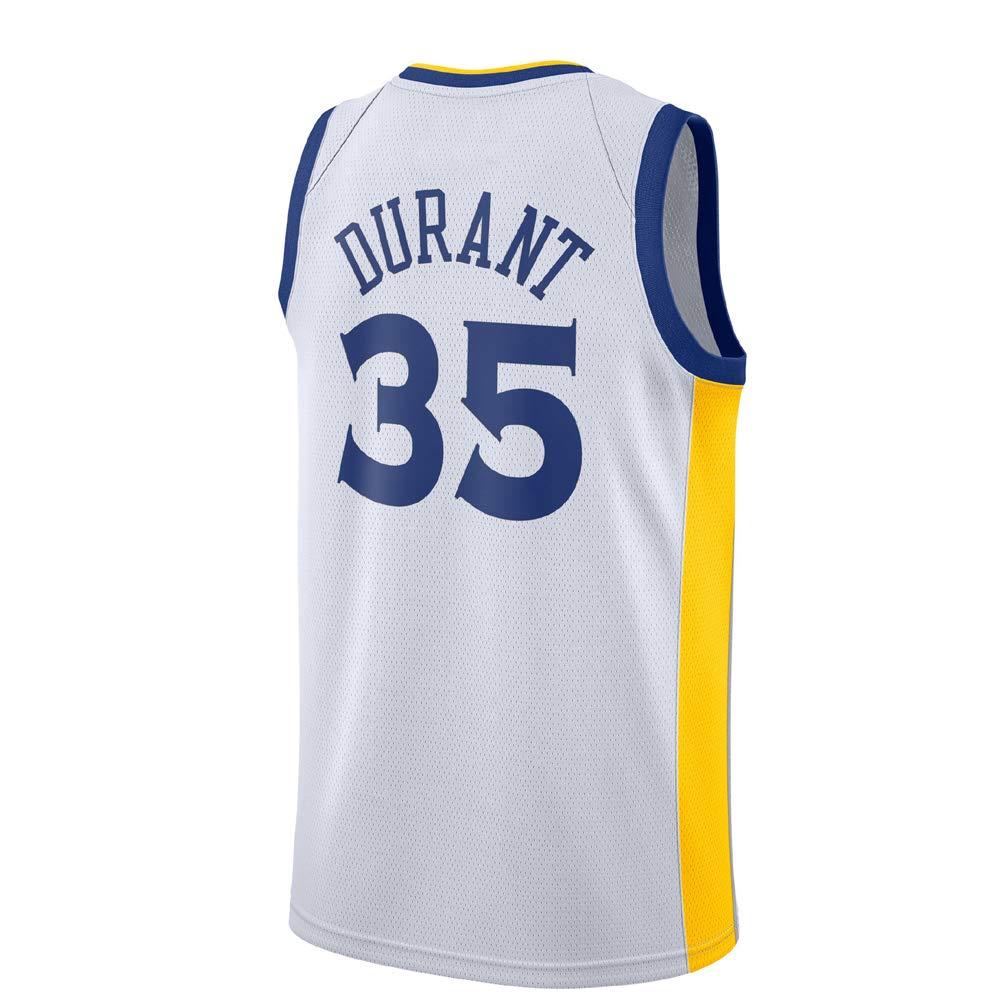 KETRL Camisa Bordada Aficionados Warriors Durant Jersey para Hombre (Blanco-1, L)