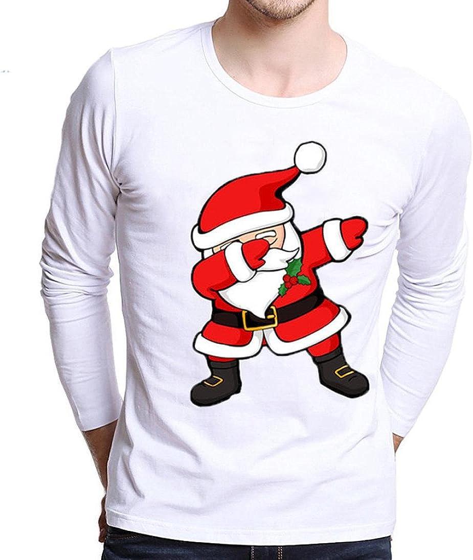 Camiseta de Manga Larga de impresión de Navidad de los Hombres más tamaño Camiseta de Manga Larga (XS): Amazon.es: Ropa y accesorios