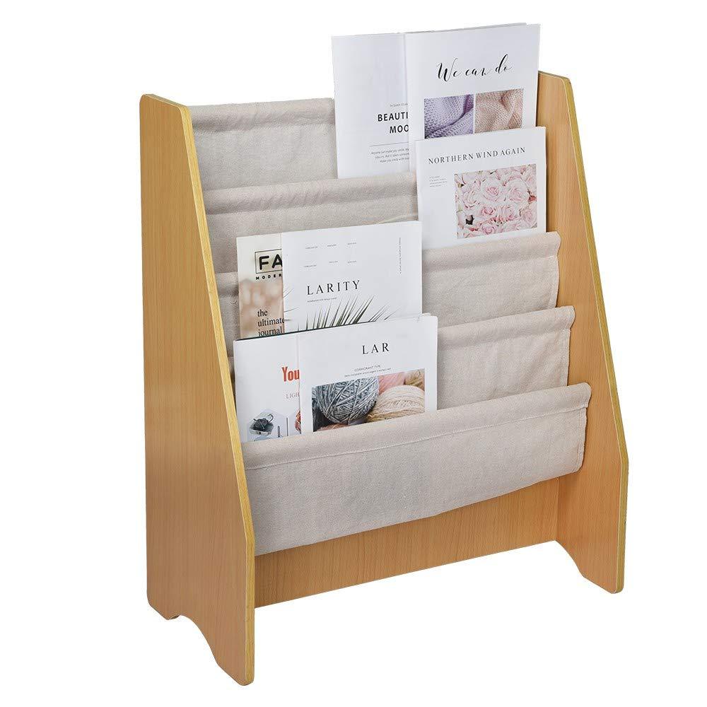 4 Layer Wood Kids  Bookcase Book Storage Display Rack Bookshelf Holder US