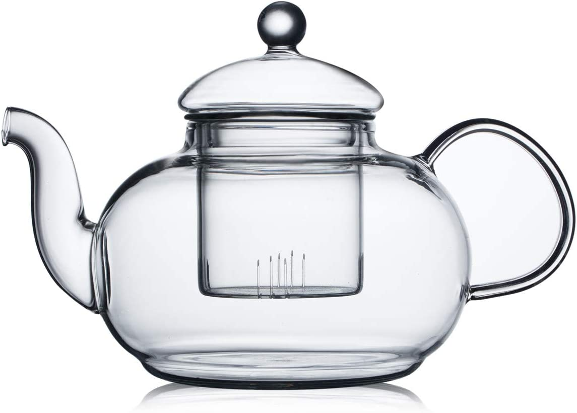 CnGlass 600ML(20.3 oz) Clear Glass Teapot with Removable Strainer,Stovetop Safe Savor Blooming Kettle,Borosilicate Glass Tea Pots