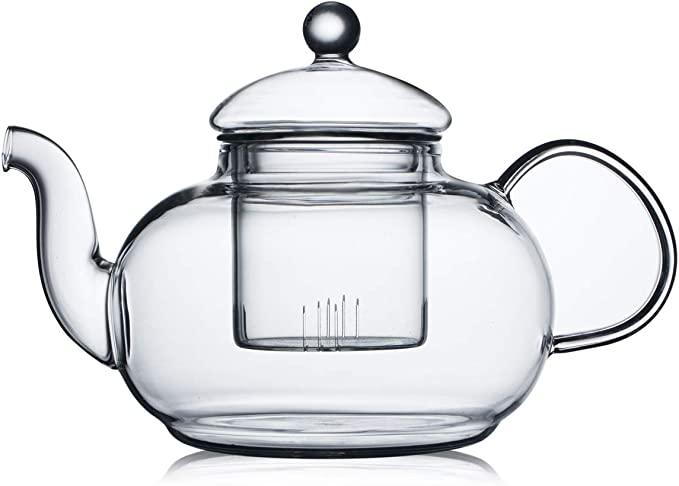 Cnglass Glass Teapot Stovetop Safe Clear Teapot With Removable Infuser 20 3 Oz Loose Leaf And Blooming Tea Maker Teapots