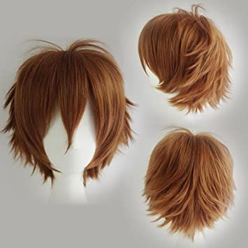 Cosplay Wigs Short Anime Costume Party Full Wigs Light Brown Fashion  Straight Synthetic Hair for Women Men  Amazon.co.uk  Beauty 4b2395b756cf