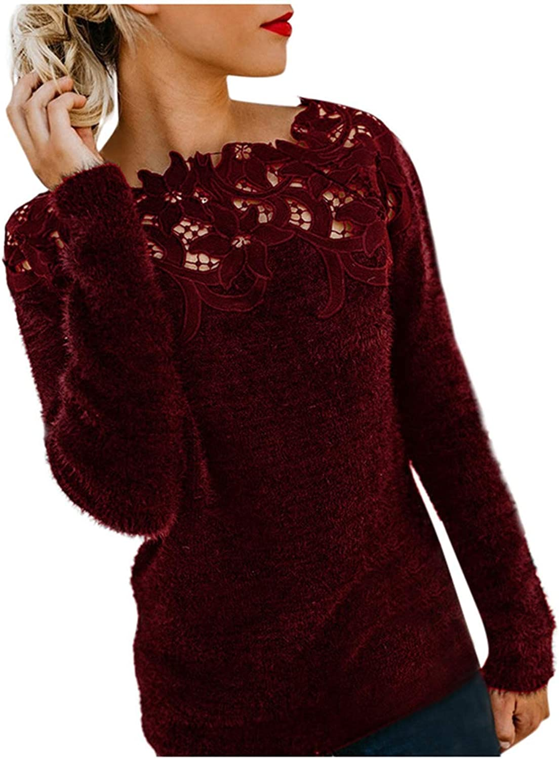 Meikosks Ladies Lace Patchwork Knitting Tops Long Sleeve V Neck Sweater Winter Loose Pullover