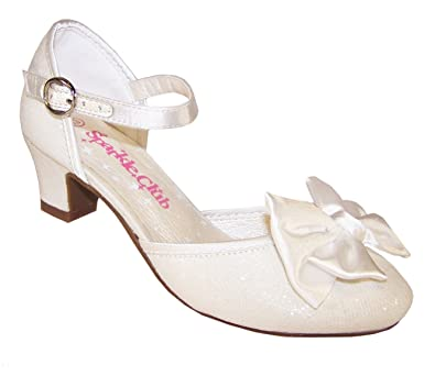f07d8dc6ffdc Girls Ivory Sparkle Low Heeled Girls Bridesmaid Flower Girl Shoes   Amazon.co.uk  Shoes   Bags
