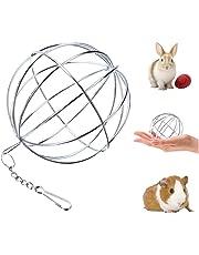 UIEECAGA Pet Herbe Boule en Acier Inoxydable, Sphère Treat Cochon d'Inde Hamster Rat Lapin Feed Distributeur à Suspendre Boule Jouet pour Petits Animaux