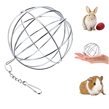 UIEECAGA - Pelota de Hierba para Mascotas de Acero Inoxidable, dispensador de Comida de Conejo, Juguete para Animales pequeños: Amazon.es: Productos para ...