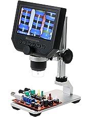 KKmoon Digital Elektronisch Mikroskop mit 4.3 Zoll 3.6MP LCD Anzeige, 600X Vergrößerung Lupe, 8 LEDs Einstellbar Helligkeit für Handy Industrial QC Inspektion mit Metall Stand Schwarz Silber