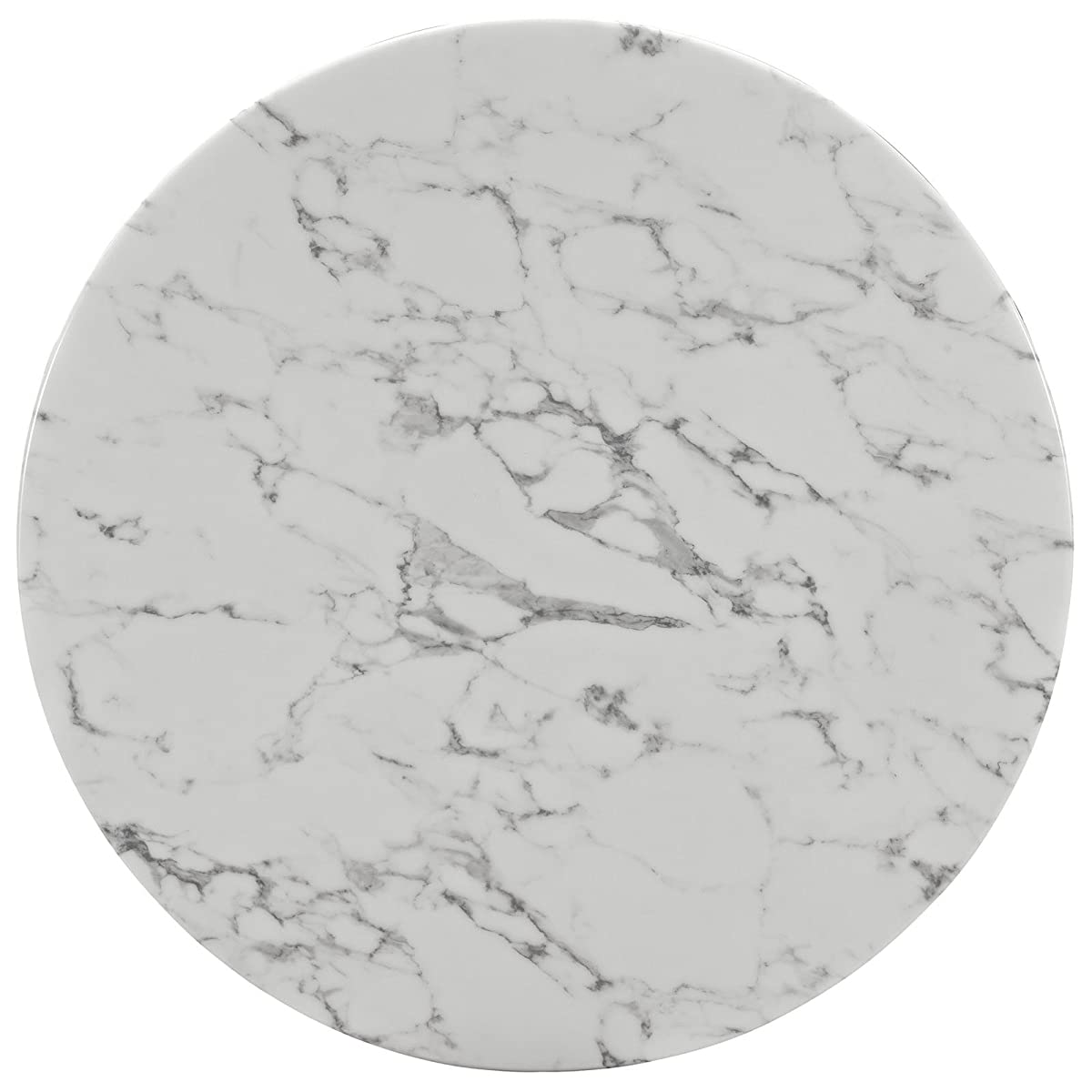 """Modway Lippa 40"""" Artificial Marble Dining Table in White"""