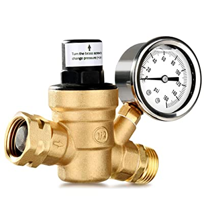 MICTUNING Upgraded Water Pressure Regulator with 0-160PSI Gauge Build-in Oil and Inlet Stainless Screened Filter, Lead-Free Brass Adjustable Pressure Reducer: Automotive [5Bkhe1514463]