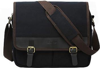 57d195b4da Eshow Men s Messenger Shoulder Bag Canvas Cross Body Pack Bag for 15.6 inch  Laptop Black