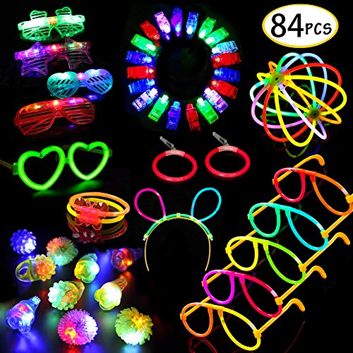 Glow Sticks Bulk 84pcs Glow in the Dark LED Party Supplies SCIONE Party Favors for Kids, 50 Glow Sticks Bulk Led Glasses,Light Up Rings & Finger Lights for Kid Birthday Christmas Party -