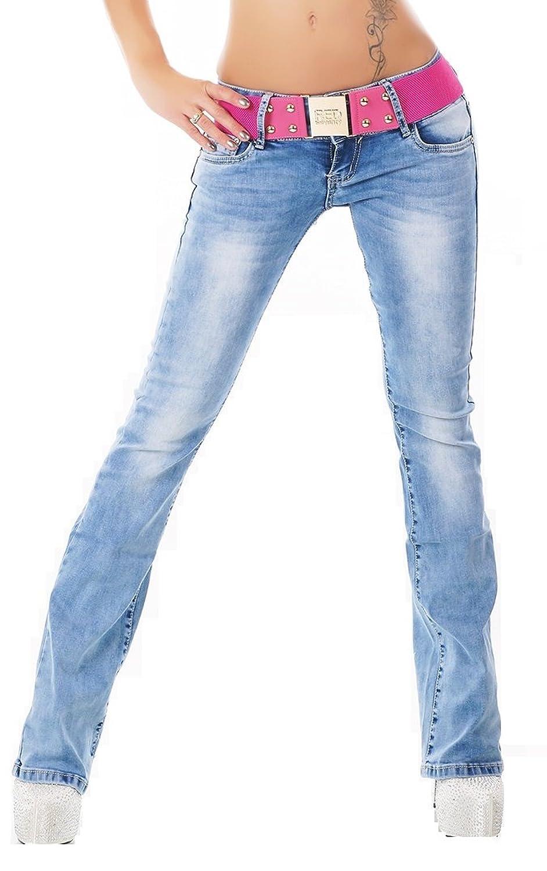 Sexy Womens Stretch Denim Boot Cut Hipster Jeans Light Blue + Belt 6 8 10 12 14