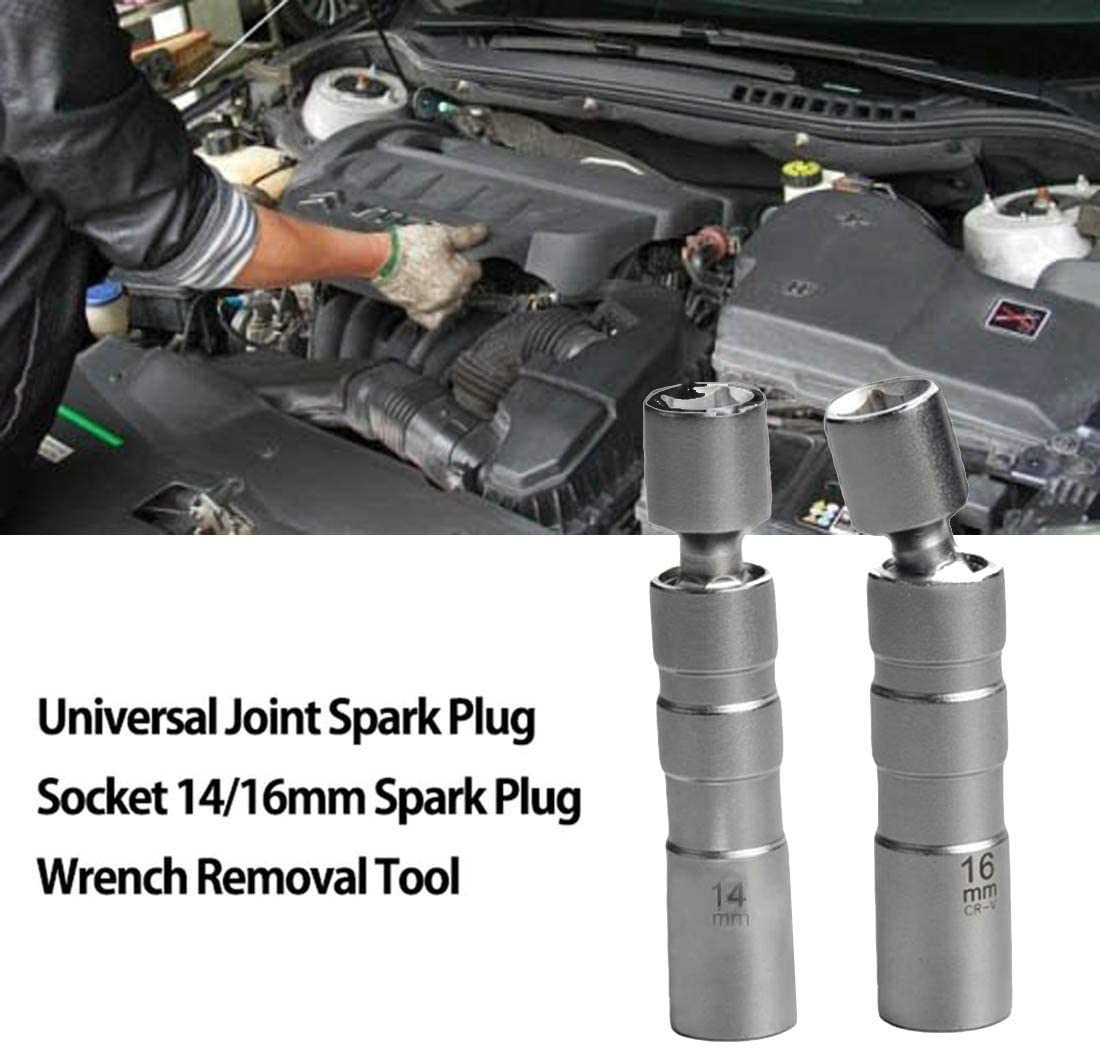 "14mm 3//8/"" Drive Universal Joint Spark Plug Socket Magnetic Removal Install Tool"