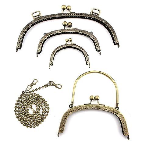 RUBY - 4 Boquillas para bolsos y 1 Cadena de hierro para correa de bolso Cierre de boquilla para bolso Cierre monederos boquilla de bolso para ...