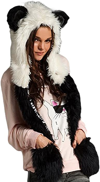 KAINUO Faux Fur Animal Hood Faux Fur 3 In 1 Function Hat,Fur Animal Ears Hood Hat,Claws Scarf Rave Spirit Festival Accessory Costume