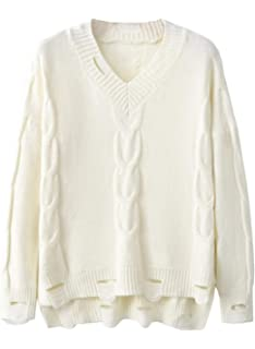 d14178644f Doballa Women s Distressed V Neck Cable Knitted High Low Pullover Sweater  Jumpers