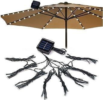 CLOOM Luz De La Cadena Del Paraguas Luces De Parasol Impermeables Luces 72 Led Luz Solar Exterior Tira De Luces Para Patio Jardín Restaurante Guirnalda Luces Exterior Lámpara De Paraguas: Amazon.es: Iluminación