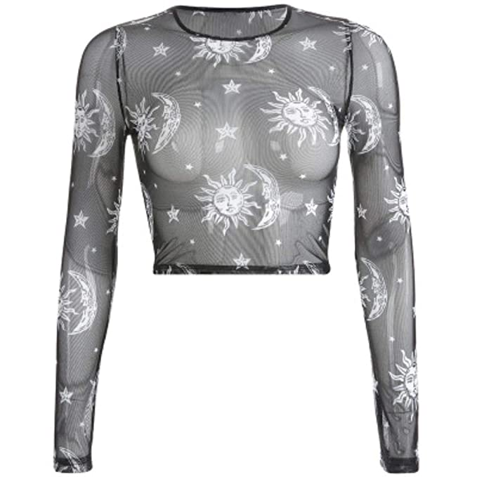 f3abf5b3f06 Image Unavailable. Image not available for. Color: Summer Long Sleeve Tees  Women Moon Star Print T-Shirt ...