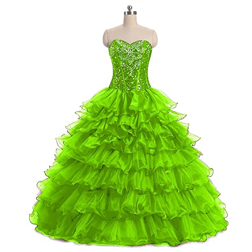 Diandiai Women's Sweetheart Beaded Quinceanera Dresses Crystal Organza Ball Gown Prom Dress