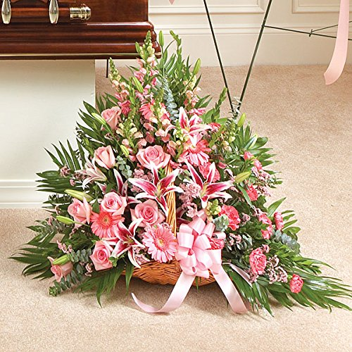 PlantShed - Thoughts and Prayers Fireside Basket - Pink - Flower Hand Delivery in NYC Local Manhattan (Pink Casket Spray Flowers)