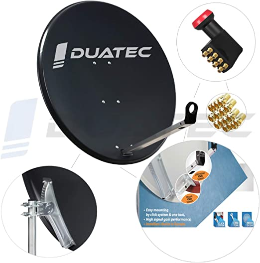 Duatec - Antena parabólica para satélite (120 cm, 8 ...