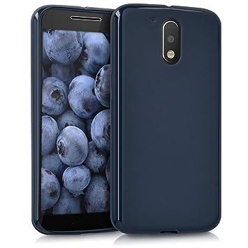 kwmobile Funda para Motorola Moto G4 / Moto G4 Plus - Carcasa para móvil en [TPU Silicona] - Protector [Trasero] en [Azul Oscuro Mate]