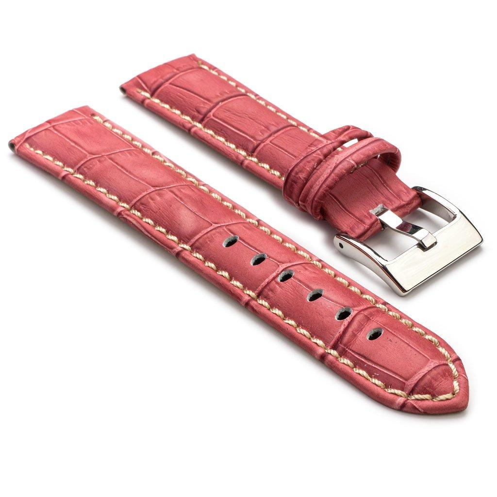StrapsCoプレミアムCroc Embossedレザー時計ストラップ 28mm ピンク 28mm|ピンク ピンク 28mm B00MRDD97O