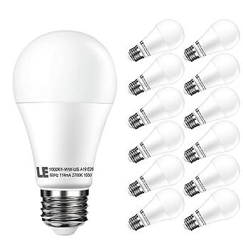 Le 12 Pack 12 W regulable A19 E26 bombillas LED, 75 W incandescente bombillas equivalentes