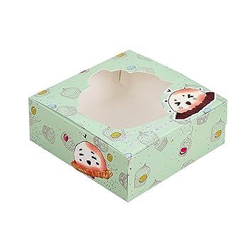 Zhi Jin 12pcs Preciosa Caja de repostería moldes de Papel para Cupcakes Embalaje Cajas de Regalo con Ventana decoración de 5 Pulgadas: Amazon.es: Hogar