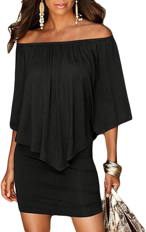 Sidefeel Women Off Shoulder Ruffles Bodycon Mini Dress: Clothing