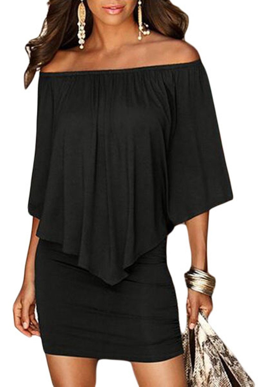 Sidefeel Women Off Shoulder Ruffles Clubwear Mini Dress Large Black