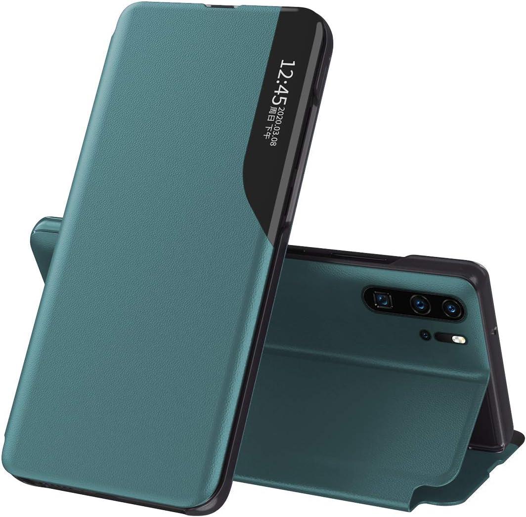 Suhctup - Carcasa de piel para Samsung Galaxy A51 / M40S / A31 con Smart View ventana lateral con función de soporte ultrafina de poliuretano + PC Funda de protección 360 ° antigolpes, color verde