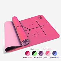 LIFEWAY Yoga Mat - All-Purpose 6mm Thick High Density Non-Slip Double-Sided TPE Yoga Mat with Carrying Strap - Eco-Friendly TPE Material - Size: 183mm x 61mm - Suitable for Yoga, Pilates, & All Type of Workouts