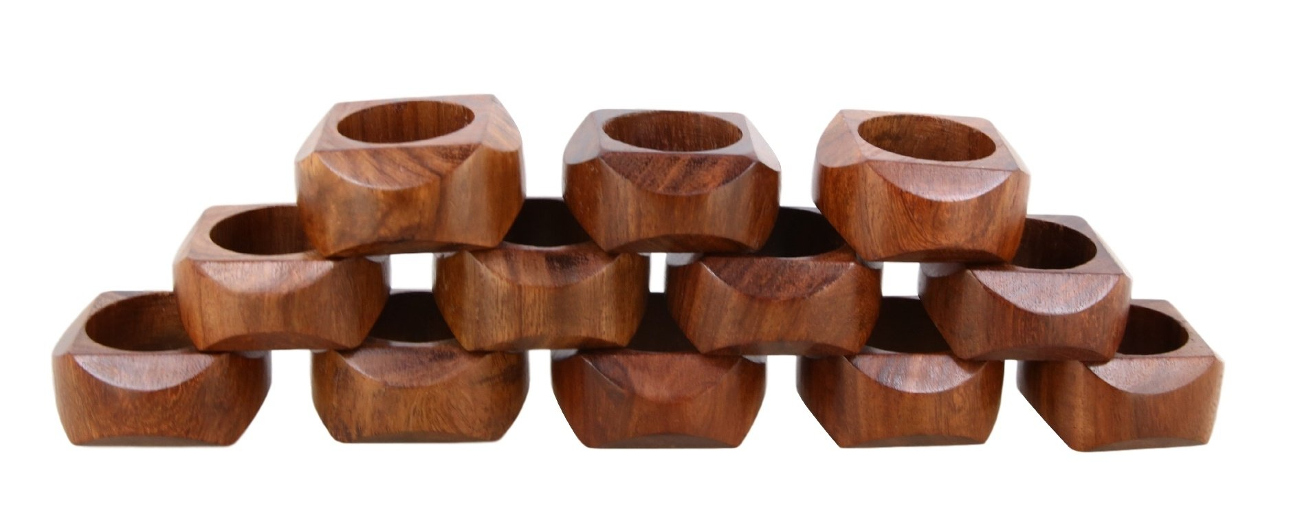 Shalinindia Handmade Artisan Crafted in India Wood Napkin Ring Set of 12