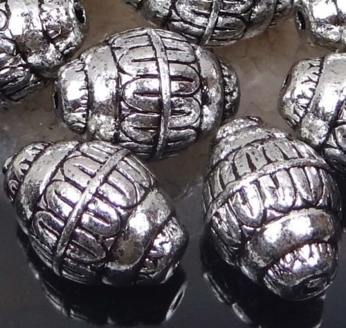 10 Antique Silver Metal Plated Acrylic Barrel Craft Beads 21x15mm by Adhit_ebe