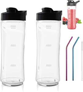 Podoy 20 OZ Sport Bottle with Lid Replace for Oster MyBlend Blender BLSTPB and BLSTP2 Blender, with Stainless Steel Straws and Brush