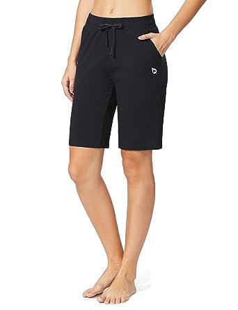 ce9f42ed30 Baleaf Women's Active Yoga Lounge Bermuda Shorts with Pockets Black Size XS